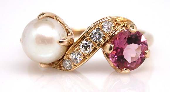 14kt Pearl, Diamond and Pink Tourmaline Ring