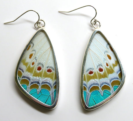 Large Teal Spotted Earrings
