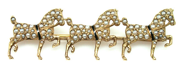 Pearl and Enamel Horse Pin