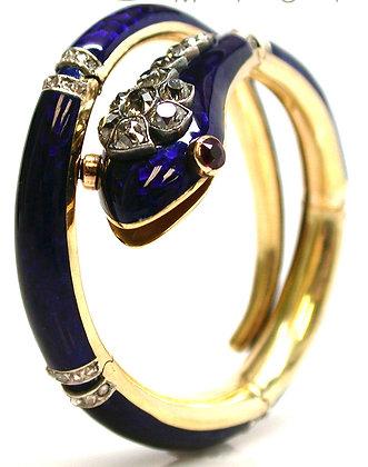 18kt Enamel, Diamond & Ruby Snake Bracelet
