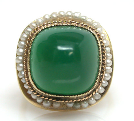 14kt Green Onyx and Pearl Ring