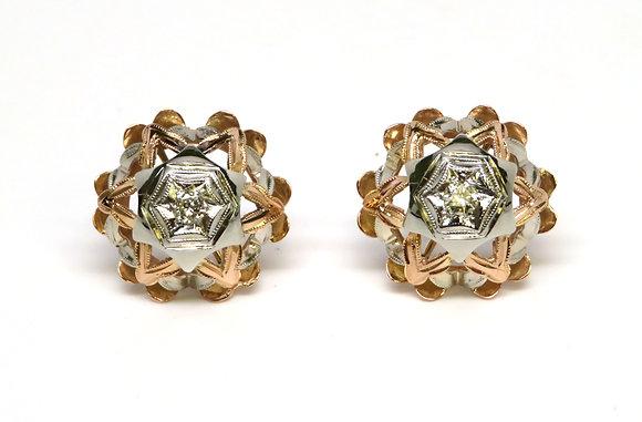 14kt Two Tone Diamond Earrings