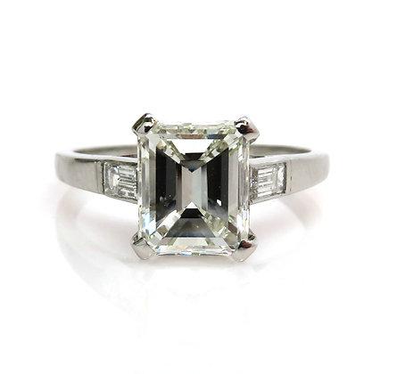 Antique Tiffany and Co. Platinum Art Deco GIA 1.91ct Emerald Cut Diamond Ring