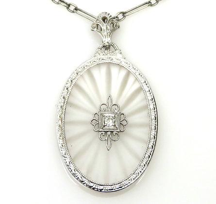 10K Etched Quartz and Diamond Necklace