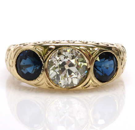 Antique Victorian 14K GIA 1.03ct Old Mine Cut Diamond Sapphire Ring