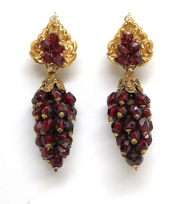 14K Garnet Day and Night Earrings