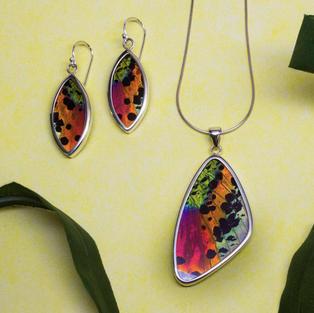 Sunset Moth Pendant & Earring Set
