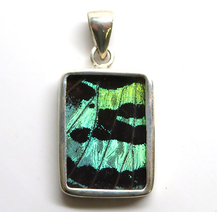 Small Green and Black Rectangle Pendant