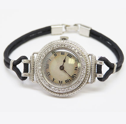Haas Platinum and Diamond Wrist Watch, circa 1920