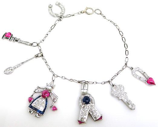 Art Deco Platinum, Diamond, Ruby, Sapphire & Pearl Charm Bracelet
