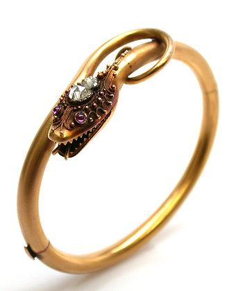 14kt Rose Cut Diamond & Ruby Snake Bracelet
