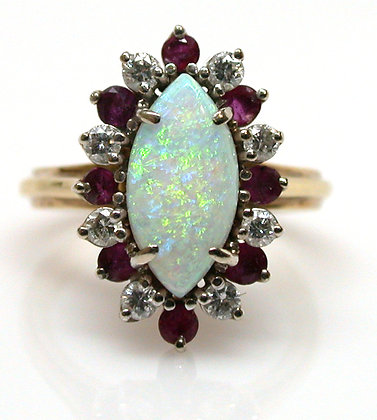 14kt Opal, Ruby and Diamond Ring