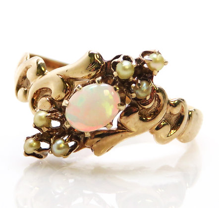 10K Gold, Opal, and Pearl Ring