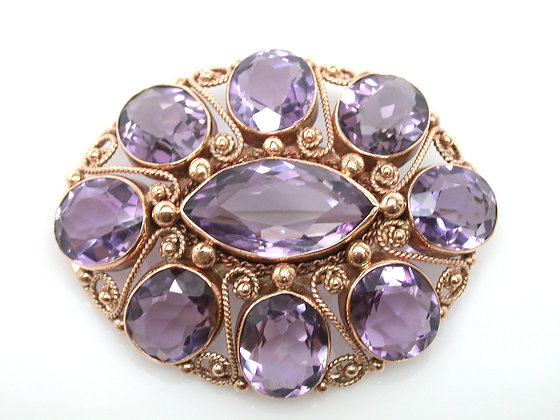 Rose Gold Amethyst Brooch