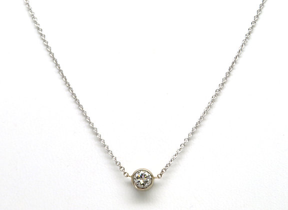 14KW Bezel Set Diamond Pendant