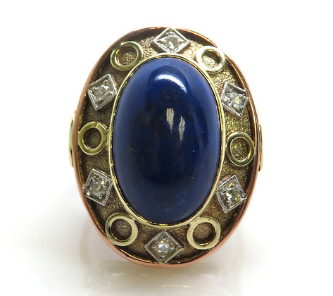 14K Lapis and Diamond Ring