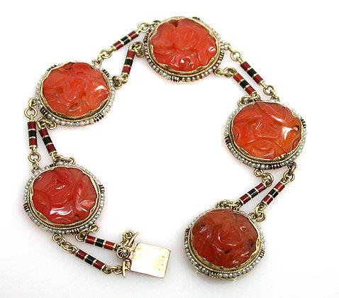 14kt Carnelian, Enamel & Pearl Bracelet