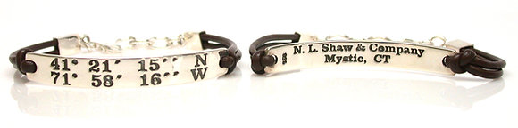 Latitude/Longitude Mystic 41 degree North Bracelet with Brown Leather
