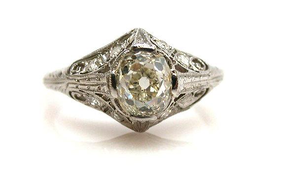 Antique Platinum GIA Old Mine Cut 1.29ct Diamond Ring