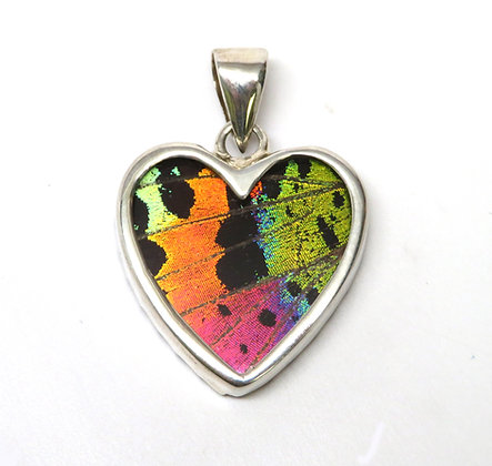Small Sunset Moth Heart Pendant