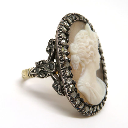 18K and Sterling Silver Stone Cameo Ring