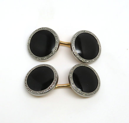 Enamel and Gold Plate Krementz Cuff Links