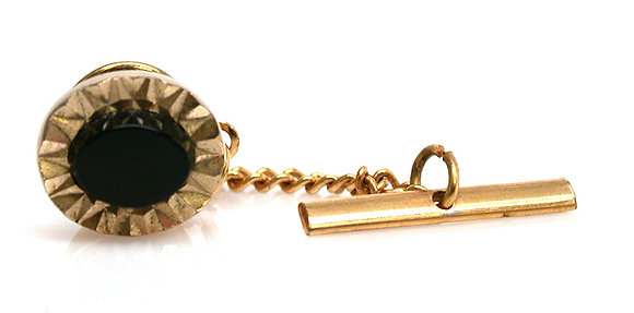 Gold filled Onyx Tie Tac