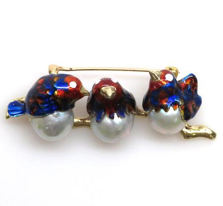 14K Pearl and Enamel Bird Pin