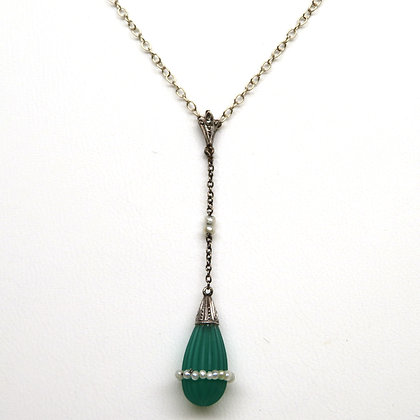 14K Green Onyx and Pearl Necklace
