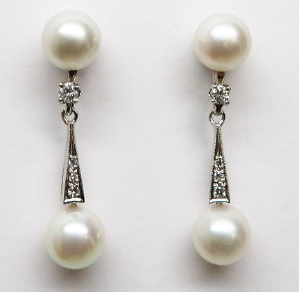 Platinum 14K Pearl Diamond Earrings