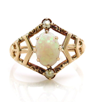 14K Opal and Pearl Ring