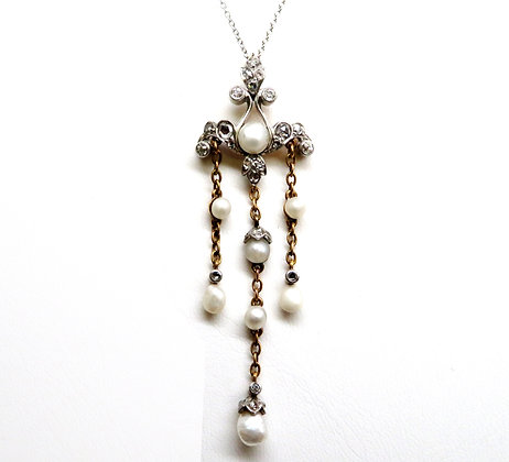 Black, Starr, & Frost Platinum, 14K gold, Diamond, and Pearl Necklace