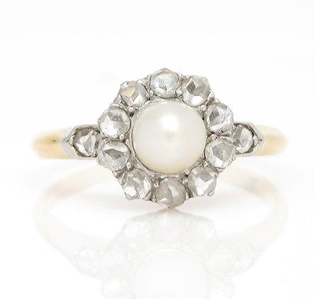 Antique Platinum/18kt Pearl & Diamond Ring
