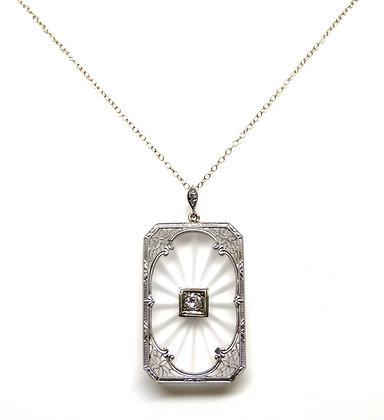 14kt Etched Quartz and Diamond Pendant