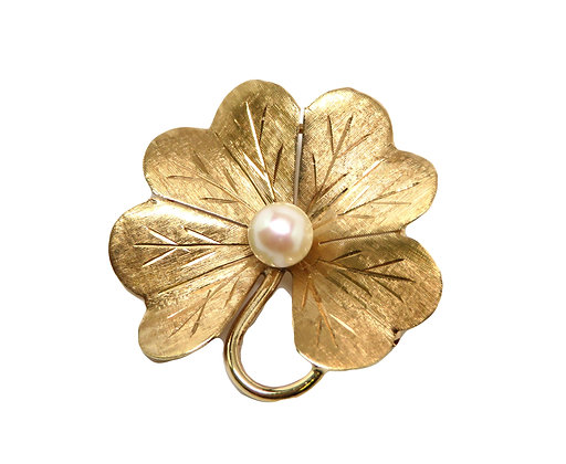 14kt Cultured Pearl Four Leaf Clover Pin/Pendant