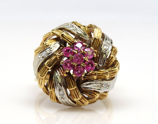 18kt Diamond and Ruby Ring