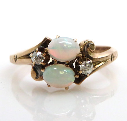 10K Opal and Diamond Ring