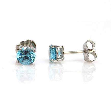 14K Blue Zircon Stud Earrings