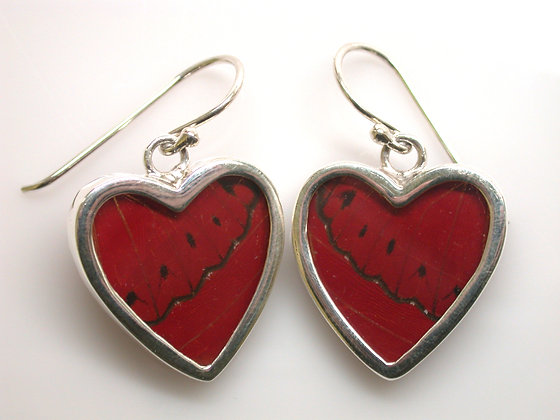 Red Heart Shaped Butterfly Earrings
