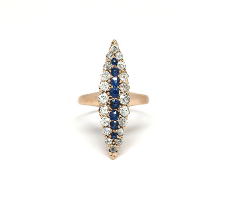14kt Sapphire and Diamond Navette