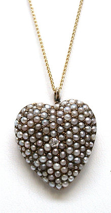 10kt Heart Seed Pearl and Diamond Pendant