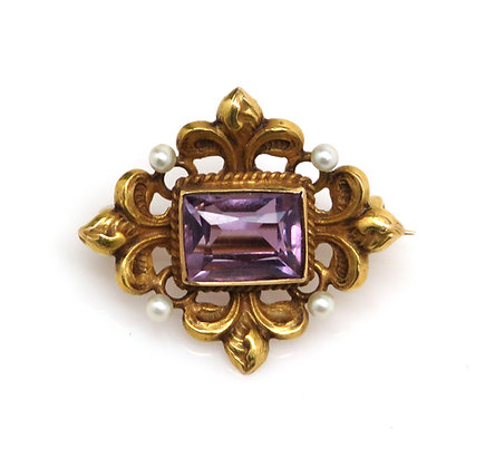 Amethyst, 14K gold, and Seed Pearl Brooch