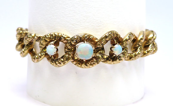 Victorian Repousse 14kt Opal Bracelet
