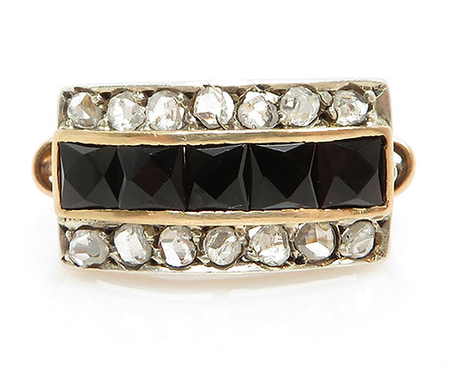 Antique French Cut Black Onyx & Rose Cut Diamond Ring