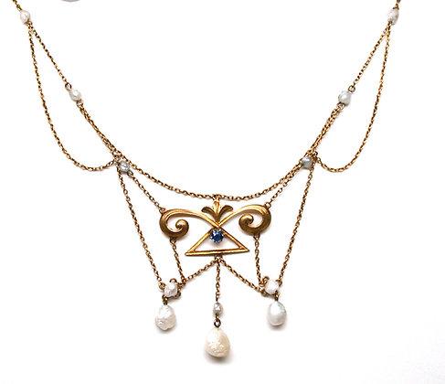 14k Sapphire & Pearl Festoon Necklace