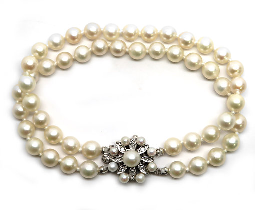 14K Diamond and Akoya Pearl Bracelet