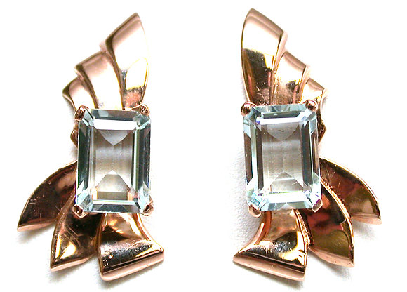 14kt Rose Gold Aquamarine Earrings