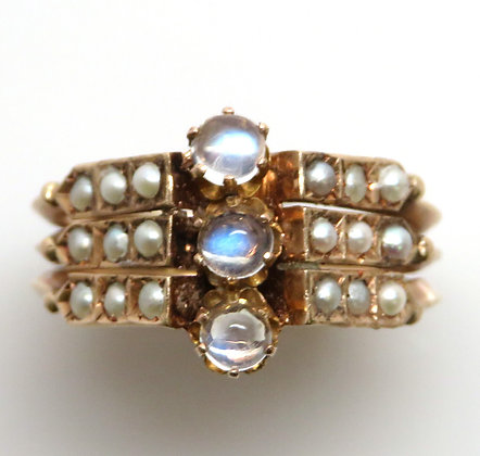 10K Moonstone and Pearl Ring