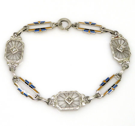 14K Etched Quartz, Diamond, and Enamel Bracelet