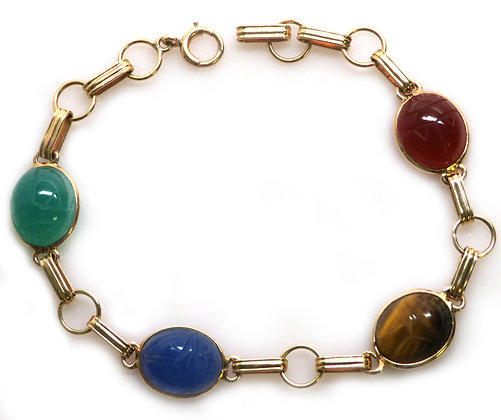 14K Multi Stone Scarab Bracelet